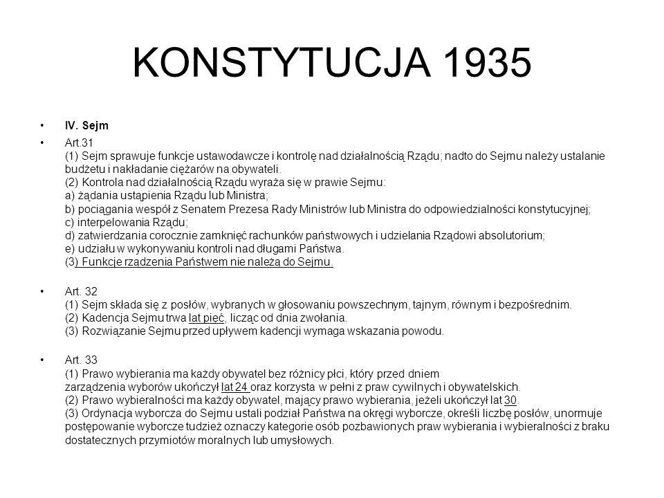 KONSTYTUCJA 1935 IV. Sejm.
