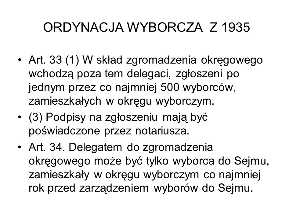 ORDYNACJA WYBORCZA Z 1935