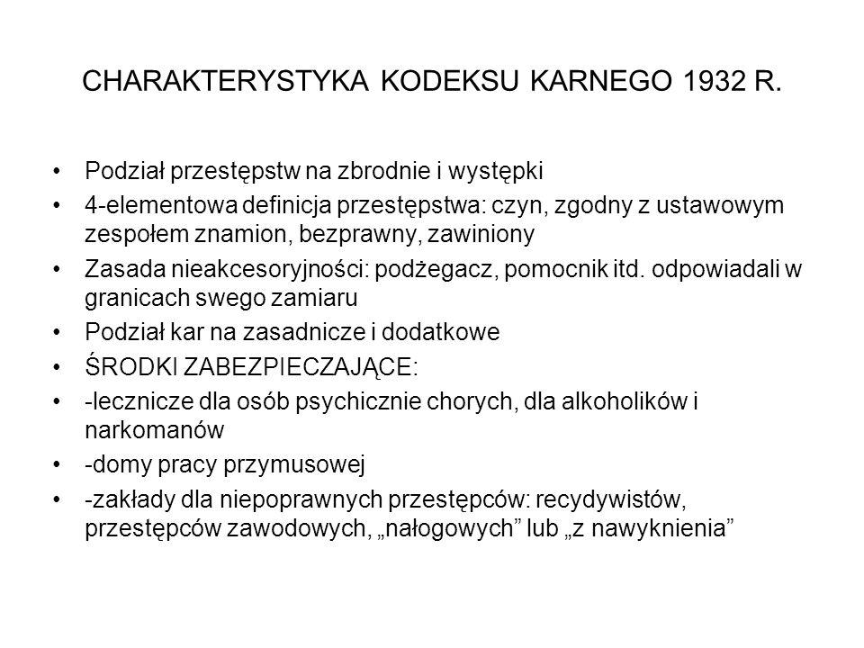 CHARAKTERYSTYKA KODEKSU KARNEGO 1932 R.