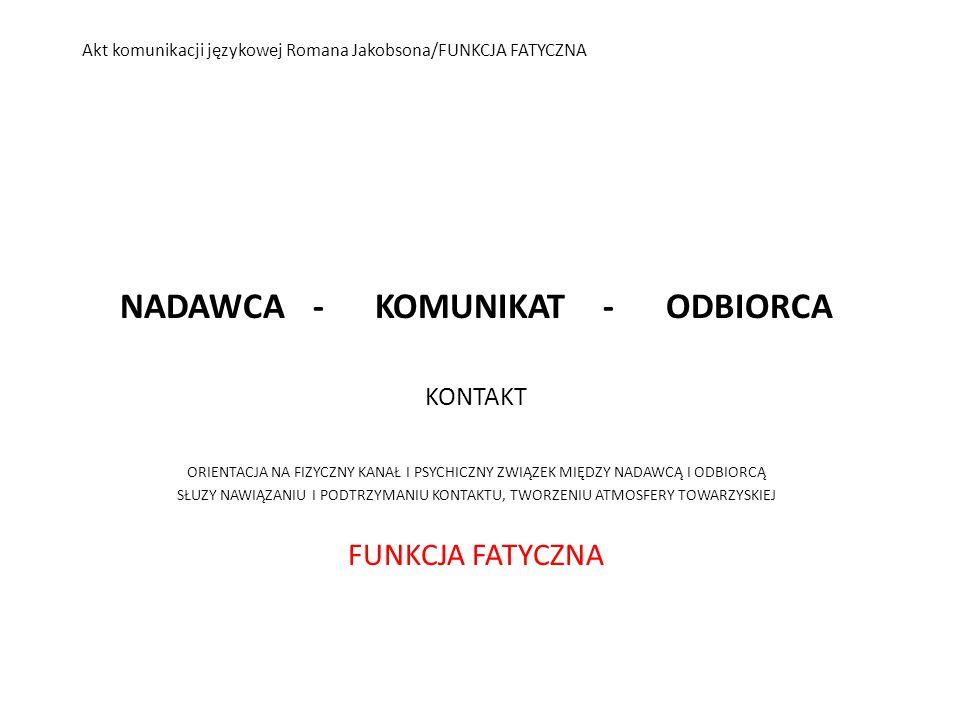 Akt komunikacji językowej Romana Jakobsona/FUNKCJA FATYCZNA