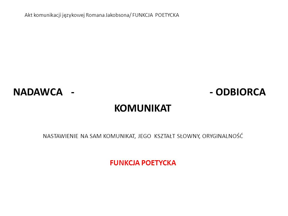 Akt komunikacji językowej Romana Jakobsona/ FUNKCJA POETYCKA