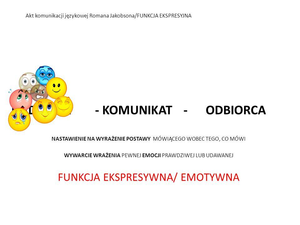 Akt komunikacji językowej Romana Jakobsona/FUNKCJA EKSPRESYJNA