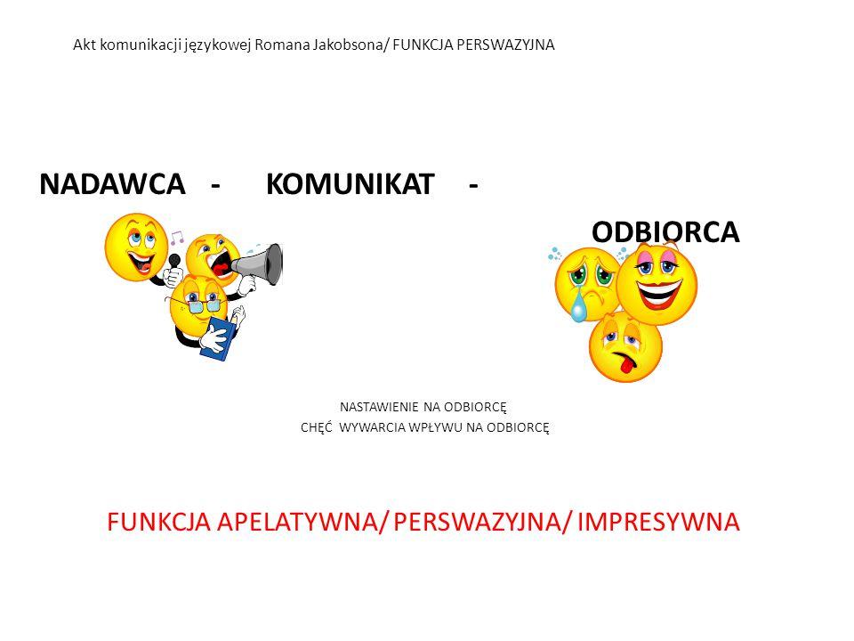 Akt komunikacji językowej Romana Jakobsona/ FUNKCJA PERSWAZYJNA