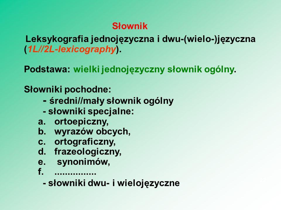 Leksykografia jednojęzyczna i dwu-(wielo-)języczna