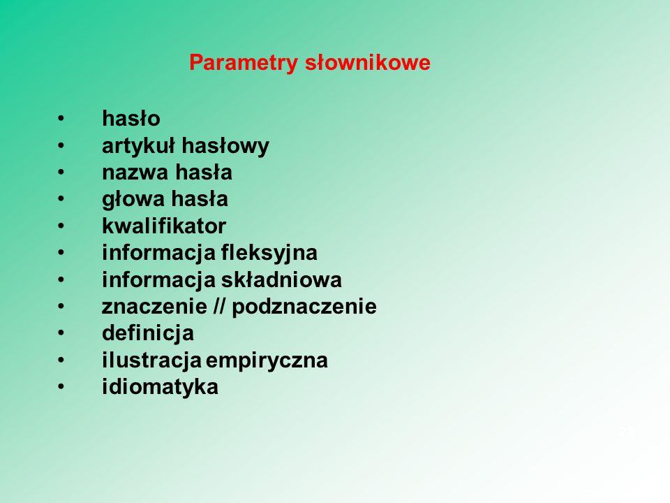 Parametry słownikowe hasło. artykuł hasłowy. nazwa hasła. głowa hasła. kwalifikator. informacja fleksyjna.