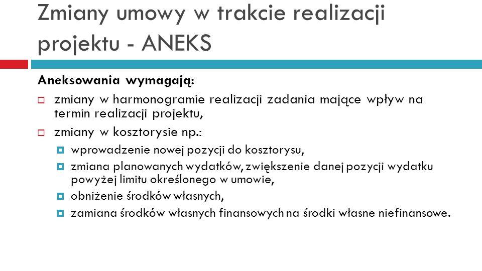 Zmiany umowy w trakcie realizacji projektu - ANEKS