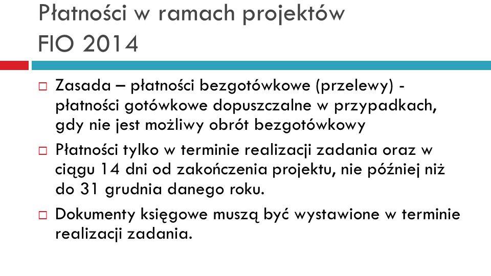 Płatności w ramach projektów FIO 2014