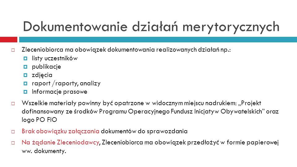 Dokumentowanie działań merytorycznych