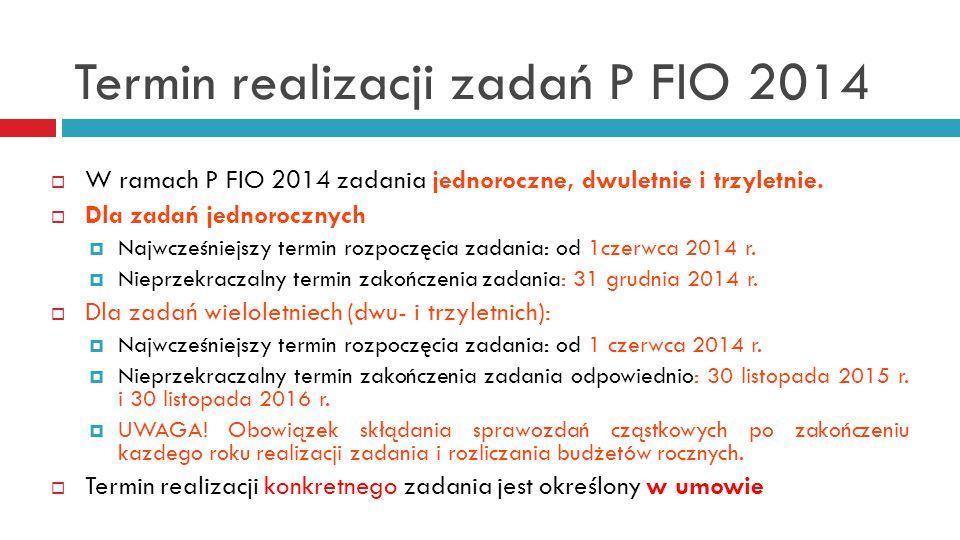 Termin realizacji zadań P FIO 2014