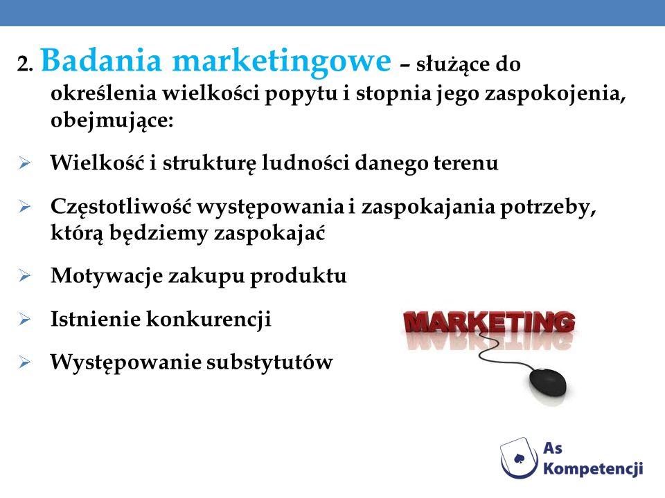 2. Badania marketingowe – służące do określenia wielkości popytu i stopnia jego zaspokojenia, obejmujące: