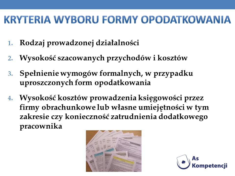 Kryteria wyboru formy opodatkowania