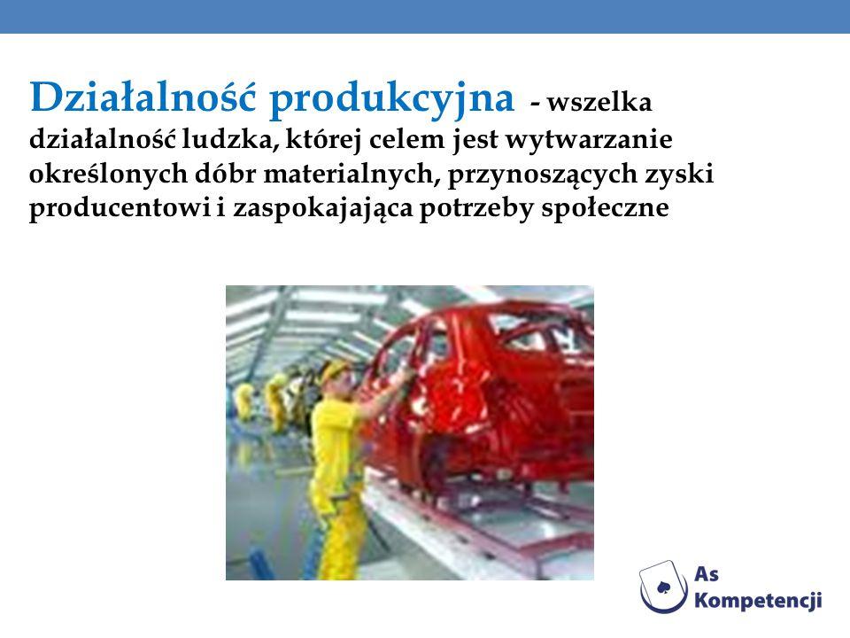 Działalność produkcyjna - wszelka działalność ludzka, której celem jest wytwarzanie określonych dóbr materialnych, przynoszących zyski producentowi i zaspokajająca potrzeby społeczne