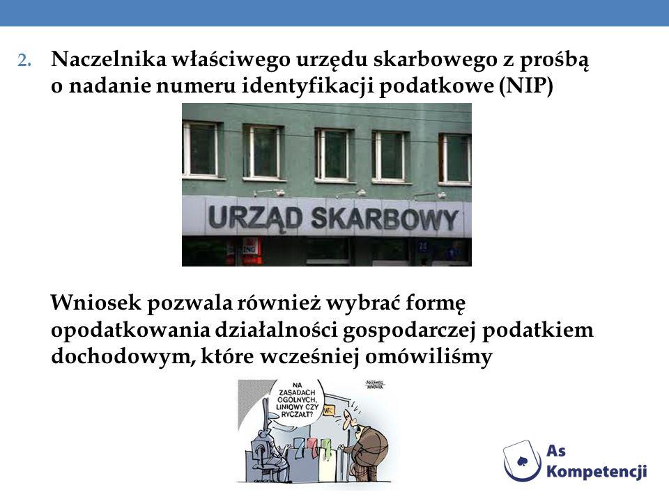 Naczelnika właściwego urzędu skarbowego z prośbą o nadanie numeru identyfikacji podatkowe (NIP)