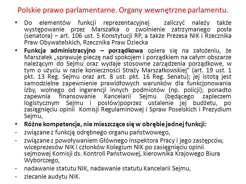 Polskie prawo parlamentarne. Organy wewnętrzne parlamentu.