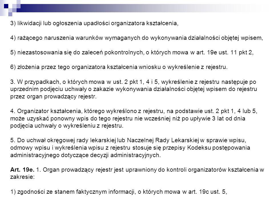 3) likwidacji lub ogłoszenia upadłości organizatora kształcenia, 4) rażącego naruszenia warunków wymaganych do wykonywania działalności objętej wpisem, 5) niezastosowania się do zaleceń pokontrolnych, o których mowa w art.