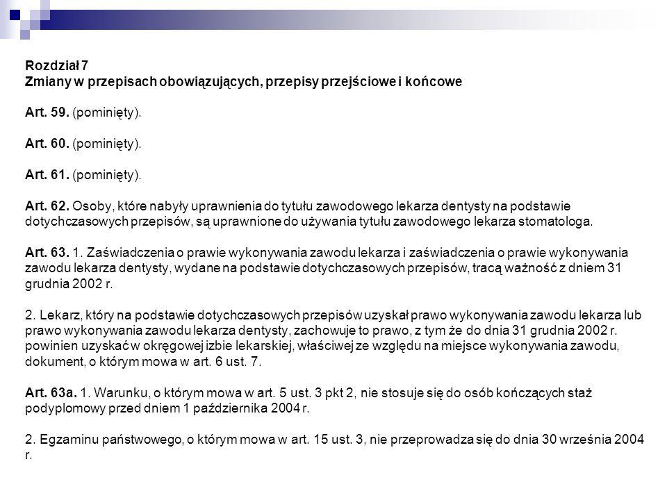 Rozdział 7 Zmiany w przepisach obowiązujących, przepisy przejściowe i końcowe Art.