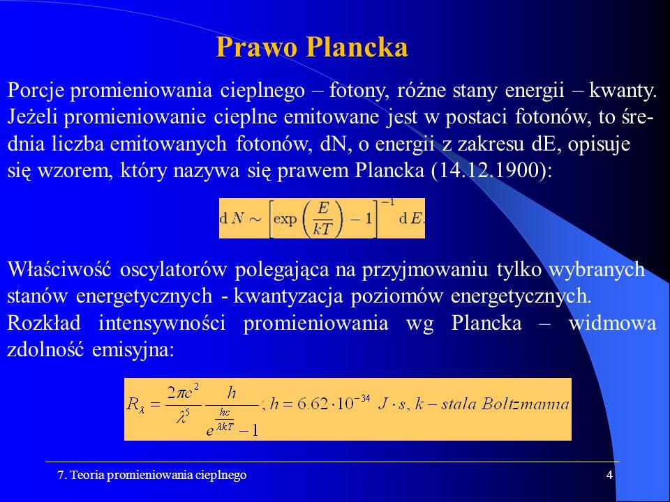 Prawo Plancka Porcje promieniowania cieplnego – fotony, różne stany energii – kwanty.