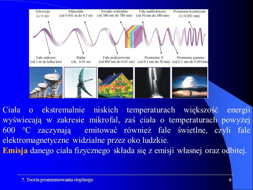 Ciała o ekstremalnie niskich temperaturach większość energii wyświecają w zakresie mikrofal, zaś ciała o temperaturach powyżej 600 °C zaczynają emitować również fale świetlne, czyli fale elektromagnetyczne widzialne przez oko ludzkie.