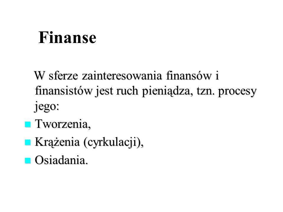Finanse W sferze zainteresowania finansów i finansistów jest ruch pieniądza, tzn. procesy jego: Tworzenia,