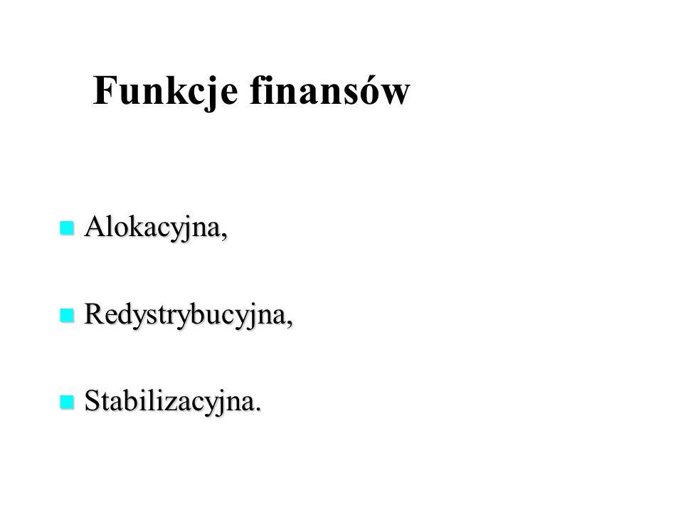 Funkcje finansów Alokacyjna, Redystrybucyjna, Stabilizacyjna.