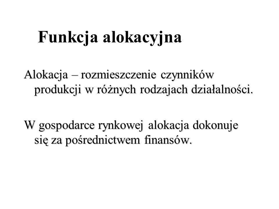 Funkcja alokacyjna Alokacja – rozmieszczenie czynników produkcji w różnych rodzajach działalności.
