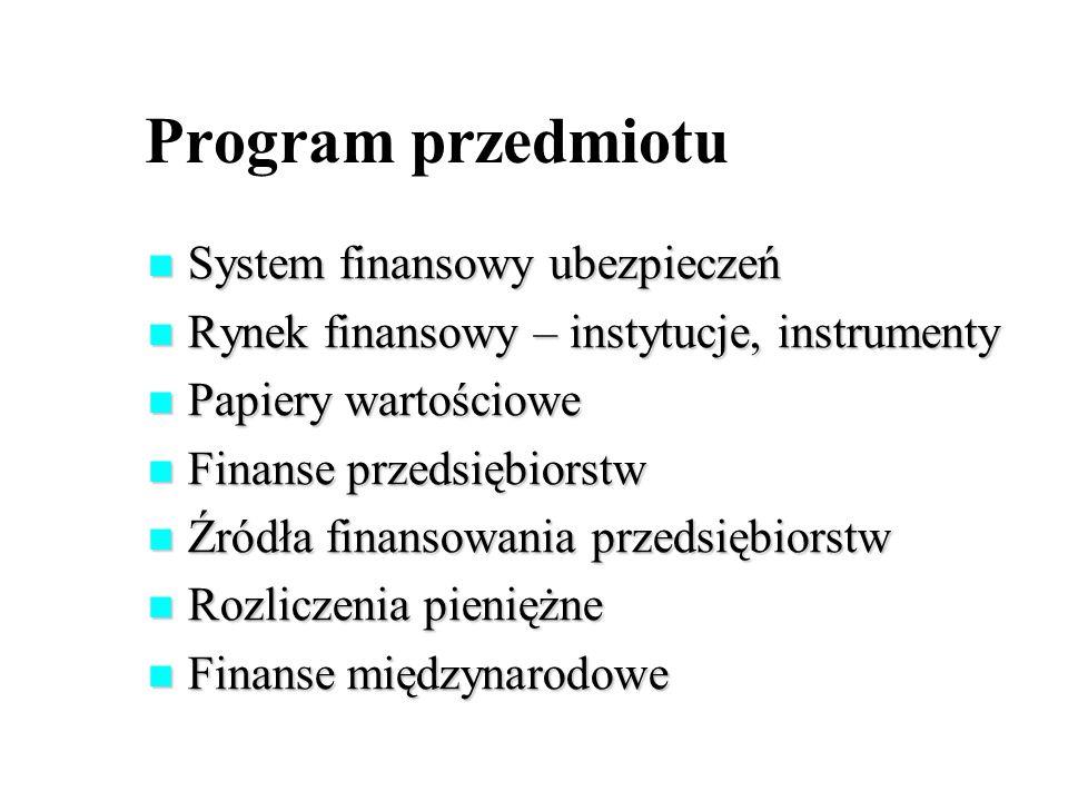 Program przedmiotu System finansowy ubezpieczeń
