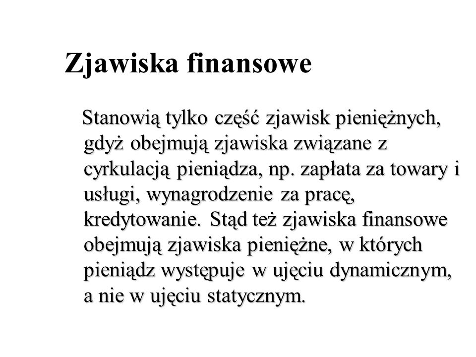 Zjawiska finansowe