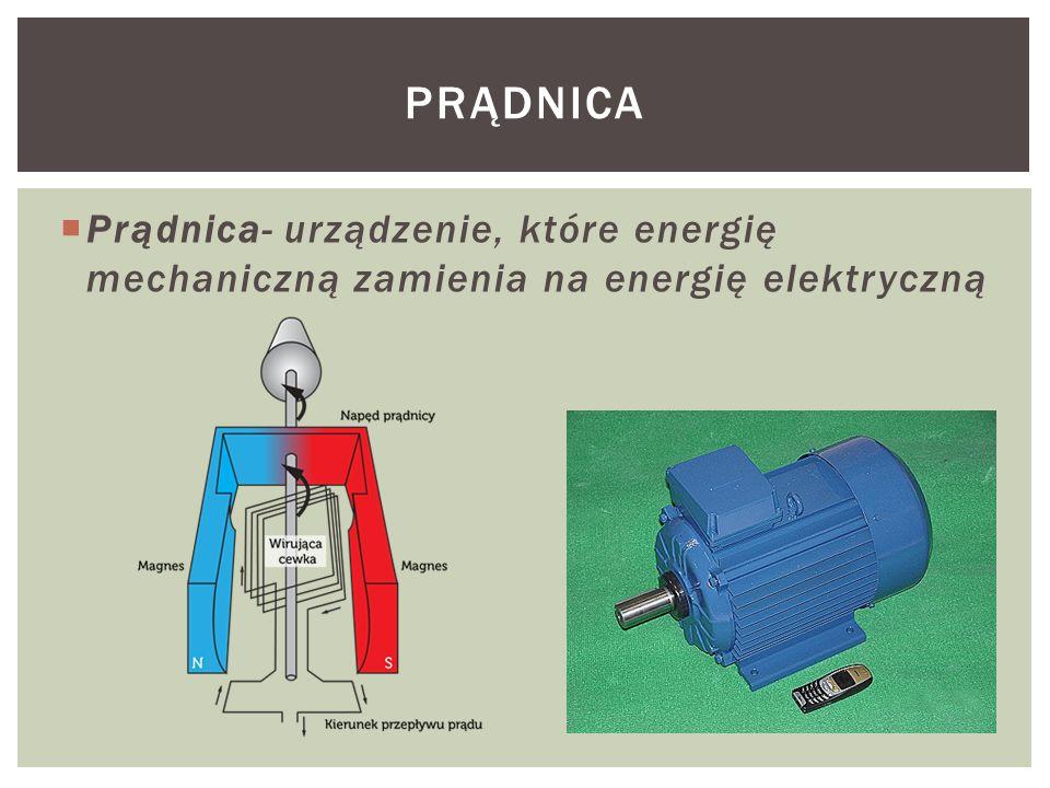 Prądnica Prądnica- urządzenie, które energię mechaniczną zamienia na energię elektryczną