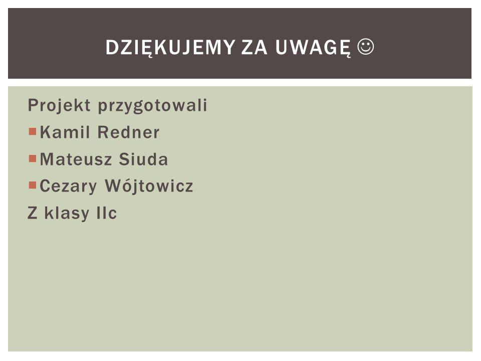 Dziękujemy za uwagę  Projekt przygotowali Kamil Redner Mateusz Siuda