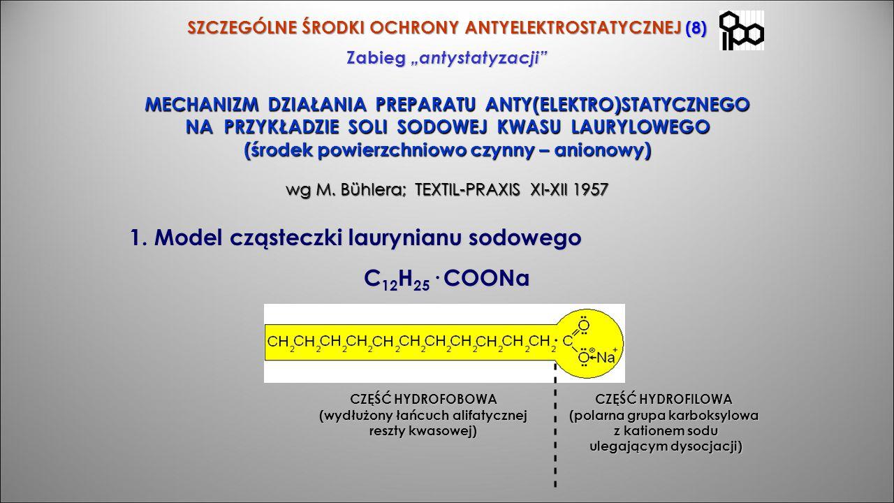Model cząsteczki laurynianu sodowego C12H25· COONa