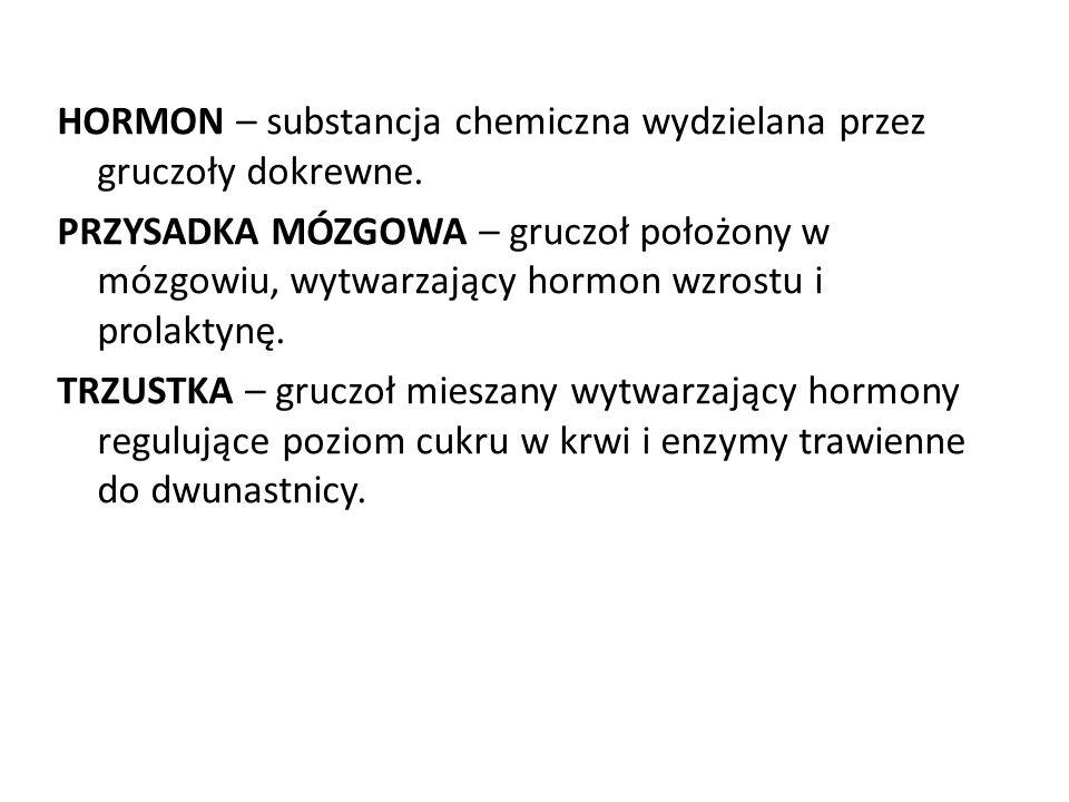 HORMON – substancja chemiczna wydzielana przez gruczoły dokrewne