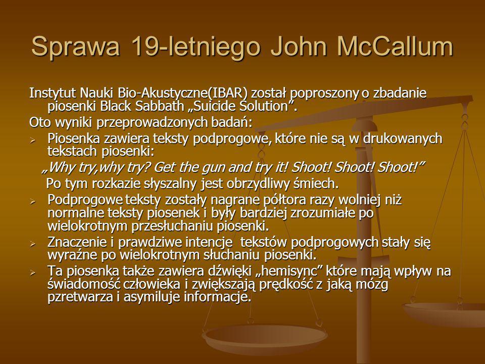 Sprawa 19-letniego John McCallum
