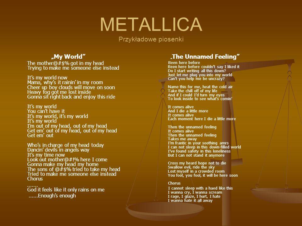 METALLICA Przykładowe piosenki