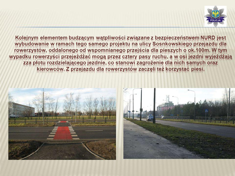 Kolejnym elementem budzącym wątpliwości związane z bezpieczeństwem NURD jest wybudowanie w ramach tego samego projektu na ulicy Sosnkowskiego przejazdu dla rowerzystów, oddalonego od wspomnianego przejścia dla pieszych o ok.100m.