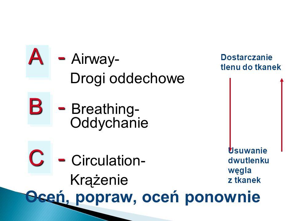 A - Airway- Drogi oddechowe B - Breathing- Oddychanie