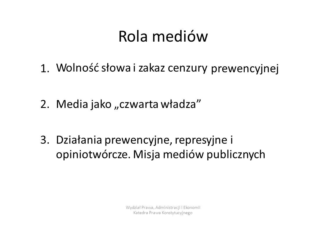 """Rola mediów 1. prewencyjnej 2. Media jako """"czwarta władza 3."""
