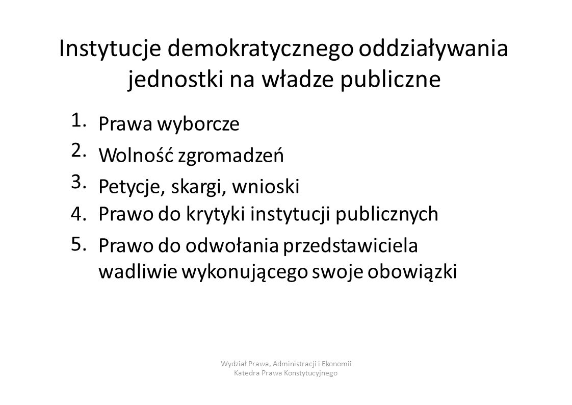 Instytucje demokratycznego oddziaływania jednostki na władze publiczne