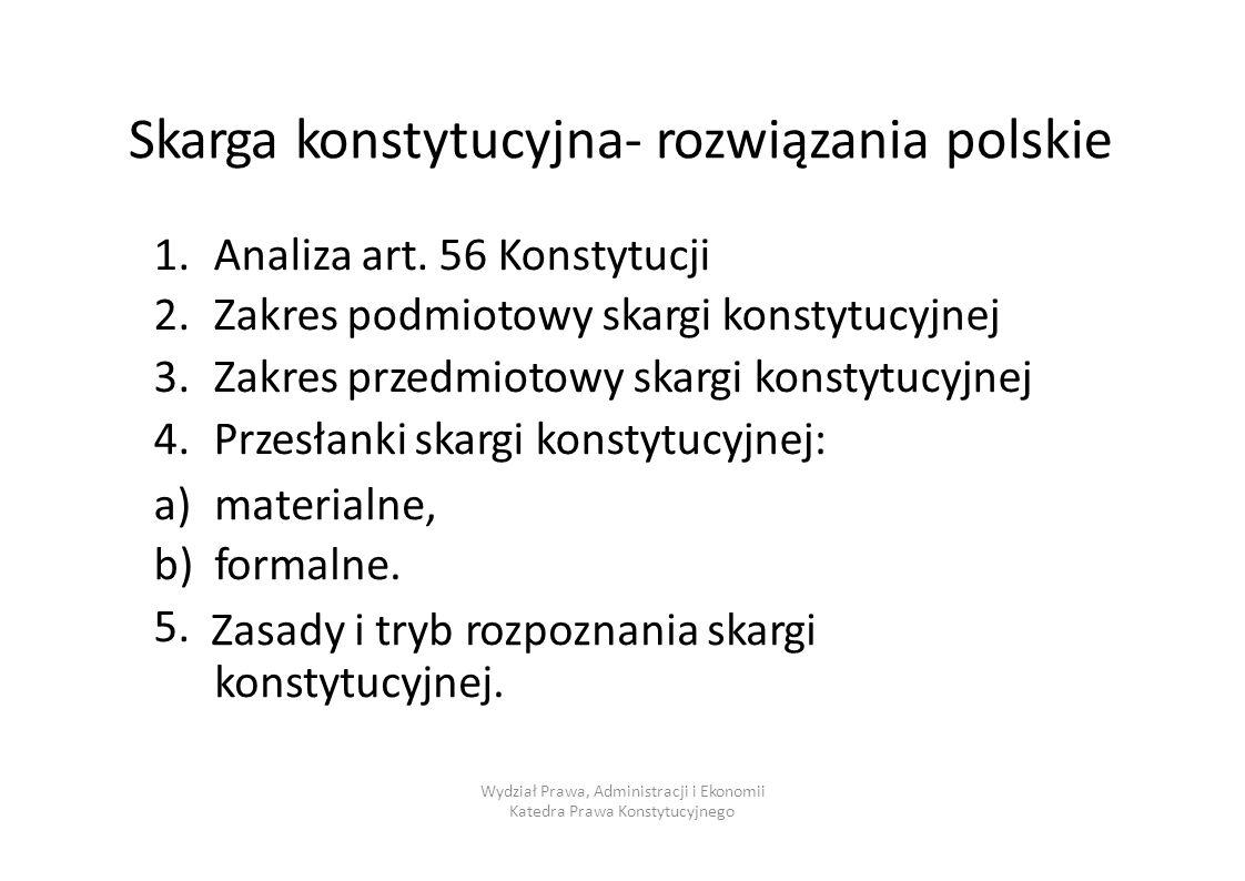 Skarga konstytucyjna- rozwiązania polskie