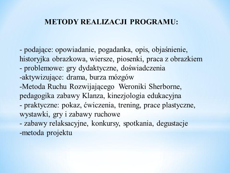METODY REALIZACJI PROGRAMU: