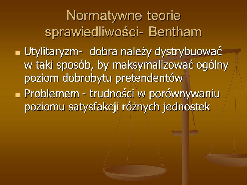 Normatywne teorie sprawiedliwości- Bentham
