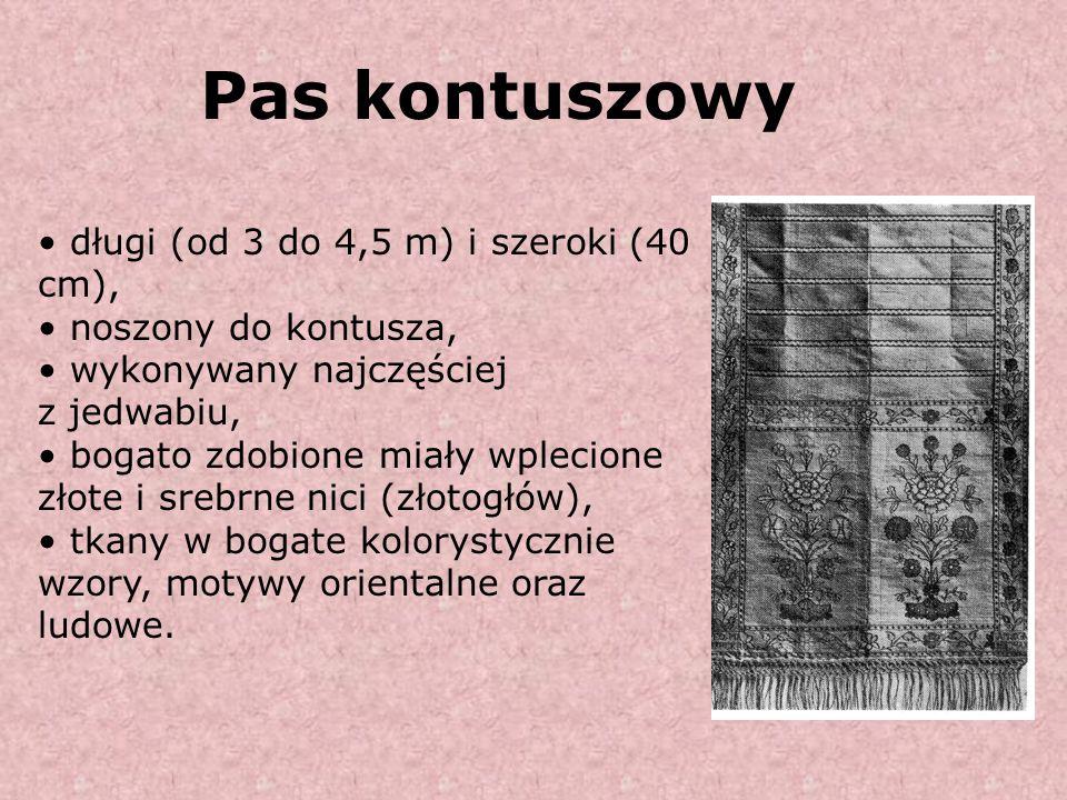 Pas kontuszowy długi (od 3 do 4,5 m) i szeroki (40 cm),