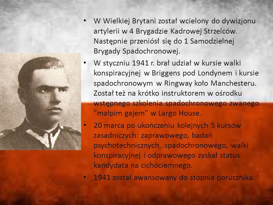 W Wielkiej Brytani został wcielony do dywizjonu artylerii w 4 Brygadzie Kadrowej Strzelców. Następnie przeniósł się do 1 Samodzielnej Brygady Spadochronowej.
