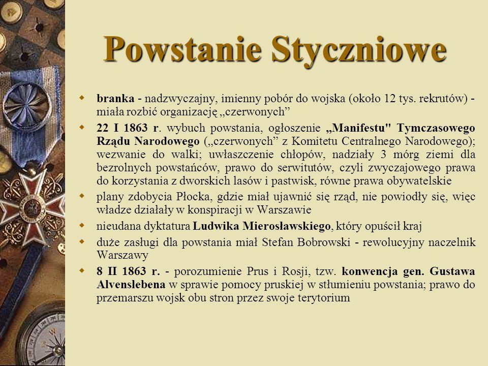 """Powstanie Styczniowe branka - nadzwyczajny, imienny pobór do wojska (około 12 tys. rekrutów) -miała rozbić organizację """"czerwonych"""