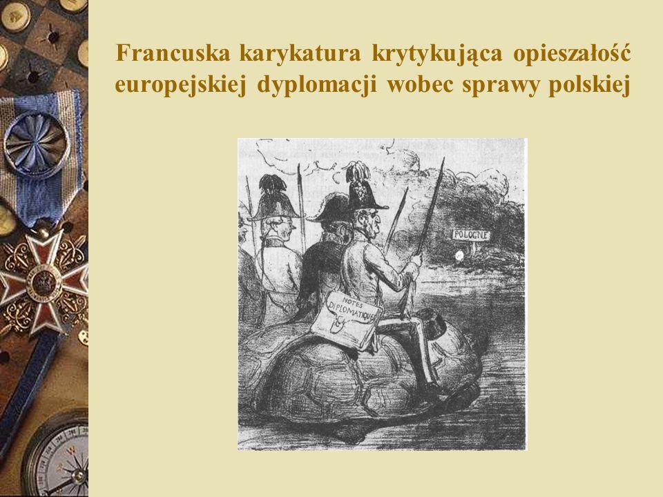 Francuska karykatura krytykująca opieszałość europejskiej dyplomacji wobec sprawy polskiej