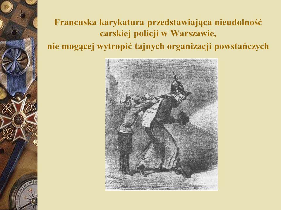Francuska karykatura przedstawiająca nieudolność carskiej policji w Warszawie, nie mogącej wytropić tajnych organizacji powstańczych