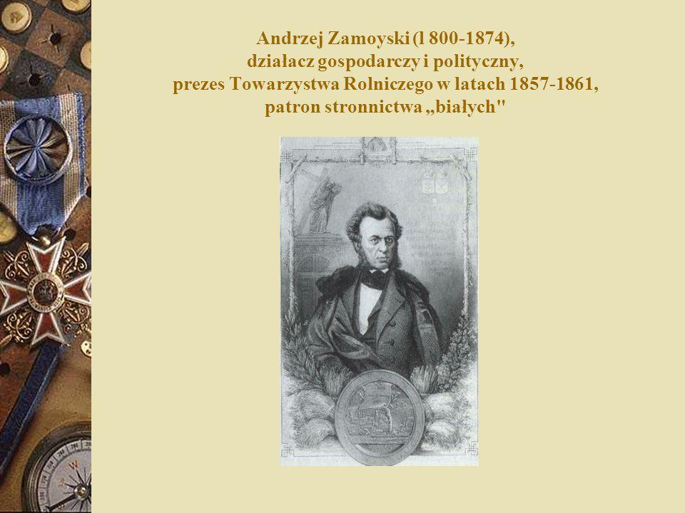 """Andrzej Zamoyski (l 800-1874), działacz gospodarczy i polityczny, prezes Towarzystwa Rolniczego w latach 1857-1861, patron stronnictwa """"białych"""