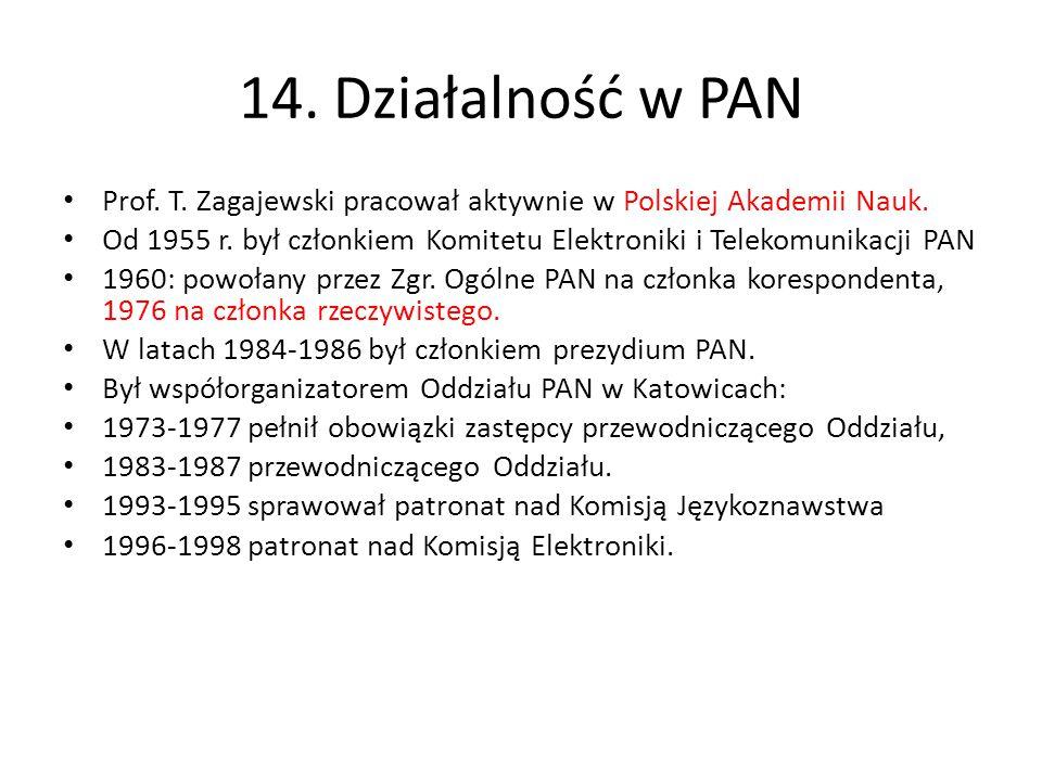 14. Działalność w PAN Prof. T. Zagajewski pracował aktywnie w Polskiej Akademii Nauk.