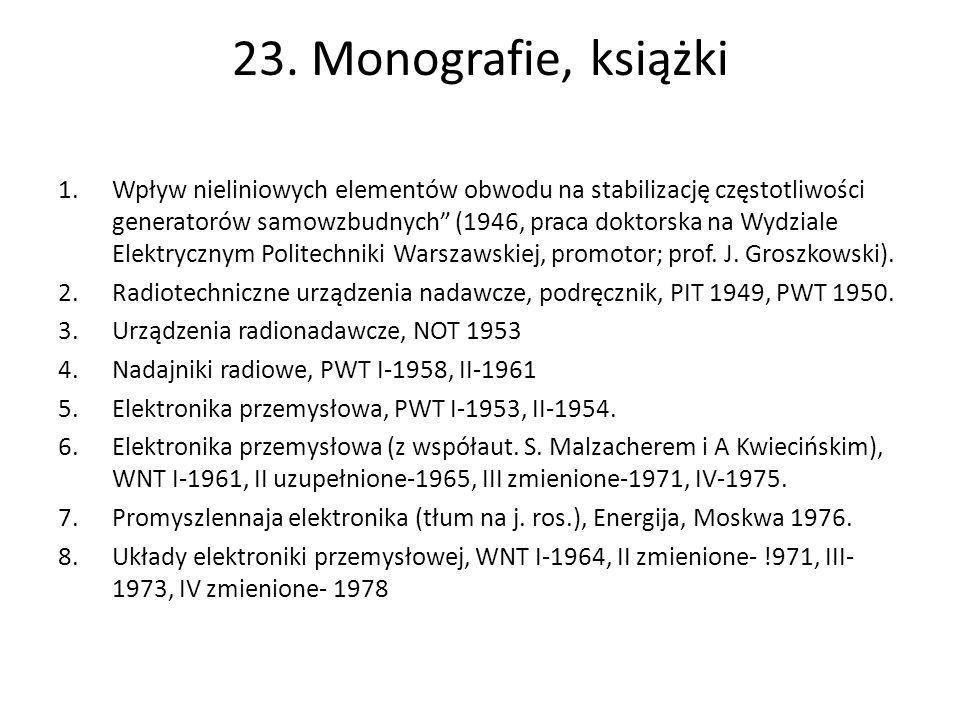 23. Monografie, książki