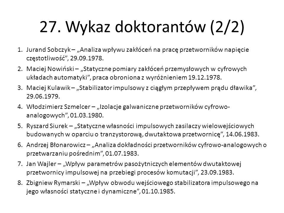 """27. Wykaz doktorantów (2/2) Jurand Sobczyk – """"Analiza wpływu zakłóceń na pracę przetworników napięcie częstotliwość , 29.09.1978."""