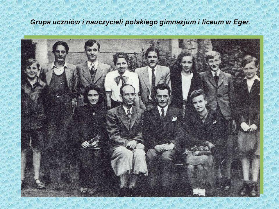 Grupa uczniów i nauczycieli polskiego gimnazjum i liceum w Eger.